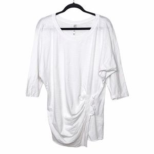 Monoreno White Gathered Ruched Waist Tunic Blouse